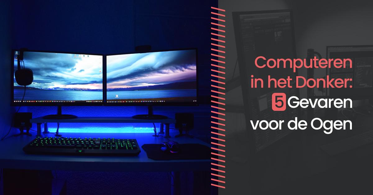 computeren in het donker
